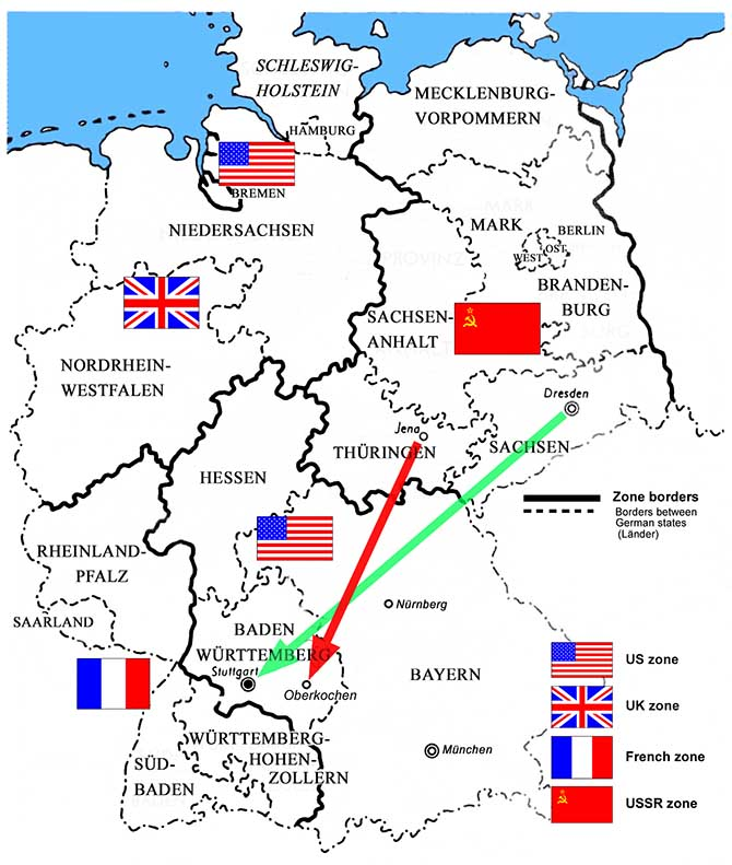 mapjpg divided germany in 1945 with the regional names in use at that time the red arrow shows the move of carl zeiss staff from jena to oberkochen